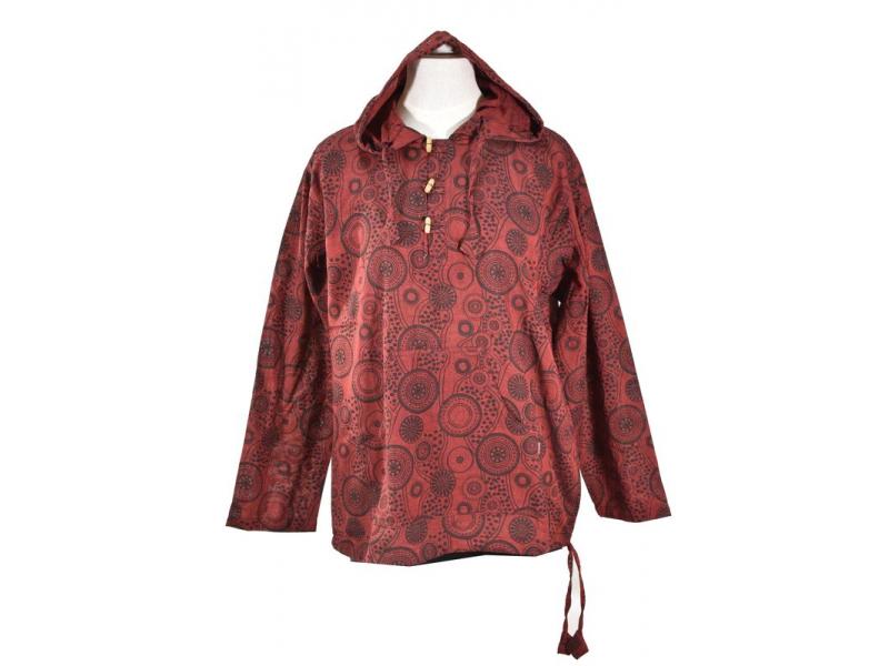 Vínová pánská košile-kurta s dlouhým rukávem a kapucou, potisk mandala