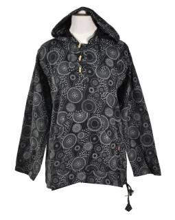 Černá pánská košile-kurta s dlouhým rukávem a kapucou, potisk mandala