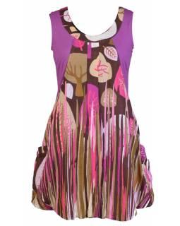 """Krátké balonové růžové šaty bez rukávu """"Autumn design"""", kapsy"""