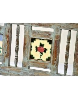 Stará lavice z teakového dřeva, tyrkysová patina, 152x56x86cm