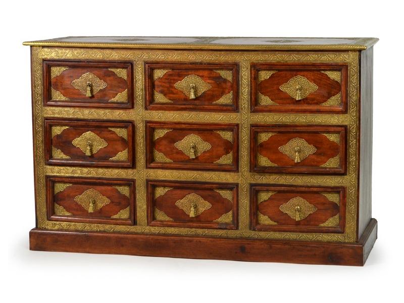 Komoda z palisandrového dřeva s mosazným kováním, šuplíky, 120x45x75cm
