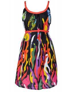 """Krátké černé šaty s pletenými ramínky """"Fire design"""""""