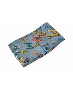 Hedvábný šátek s motivem motýlů, šedý, 170x105cm