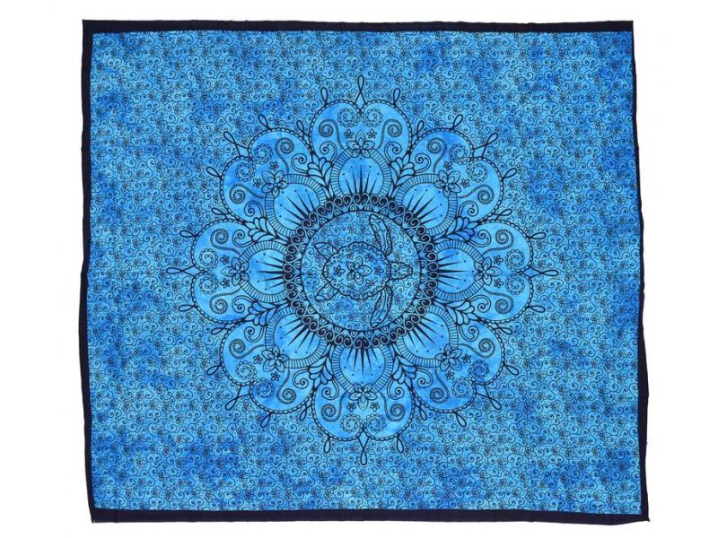 Přehoz s karetou, modrá batika, 200x220cm