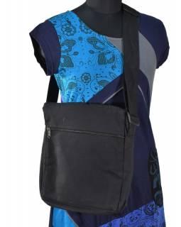Bavlněná taška přes rameno s potiskem a výšivkou, černo-modrá, 30x30cm