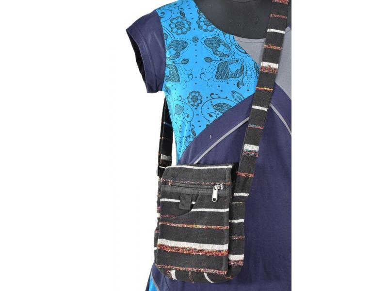 Malá bavlněná taštička, patchwork design, zip, 20x18cm