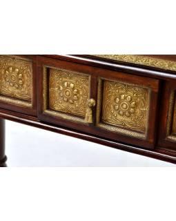 Konzolový stolek z palisandru zdobený mosazným kováním, 90x40x85cm