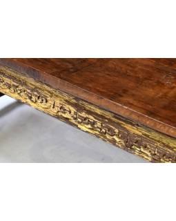 Konzolový stolek z mangového dřeva zdobený ručními řezbami, 165x50x46cm
