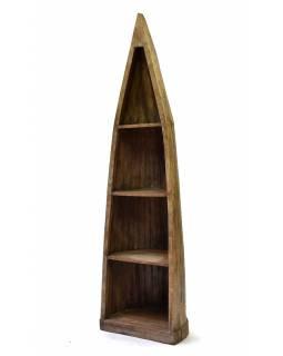 Knihovna z mangového dřeva ve tvaru lodi, 56x48x208cm