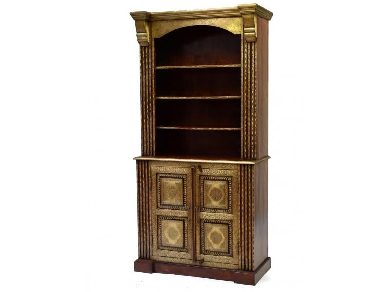 Knihovna z palisandrového dřeva zdobená mosazným kováním, 100x45x200cm