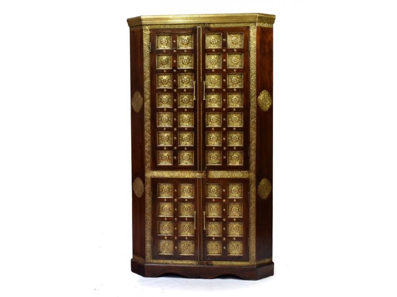 Rohová skříň z palisandrového dřeva zdobená mosazným kováním, 100x62x190cm