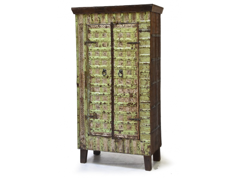 Antik skříň z teakového dřeva, kovem pobité dveře, 78x42x150cm