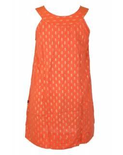 Krátké oranžové šaty bez rukávu se zlatým potiskem