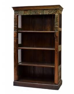 Antik knihovna, teakové dřevo, zdobená mříží, 122x51x197cm