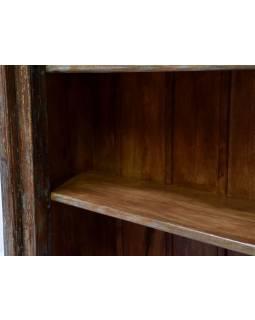 Knihovna z antik teakového dřeva, zdobená řezbami, 99x45x205cm