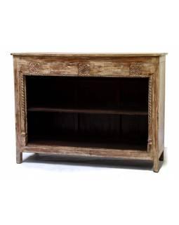 Knihovna z mangového dřeva, zdobená řezbami, 157x50x118cm