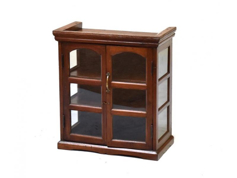 Prosklená skříňka z antik teakového dřeva, 54x29x61cm
