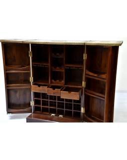 Barový pult, rozkládací, mosaz.kování, palisandr,150/75x45x110cm