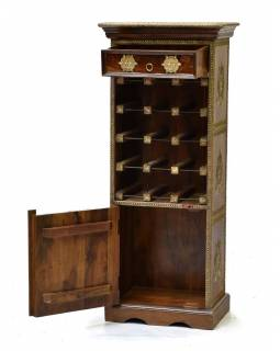 Bar z palisandrového dřeva, mosazné kování,, 45x30x110cm