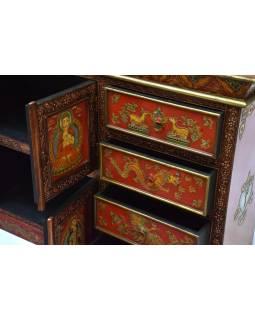 Komoda se šuplíky v tibetském stylu z mangového dřeva, 122x26x92cm