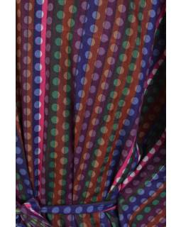 "Fialovo-růžovo-hnědá tunika s potiskem ""Beads design"" a stuhou"
