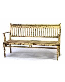 Stará lavice z teakového dřeva, bílá patina, 163x60x94cm