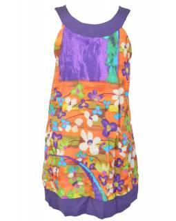 """Krátké oranžové šaty bez rukávu """"Meadow design"""""""