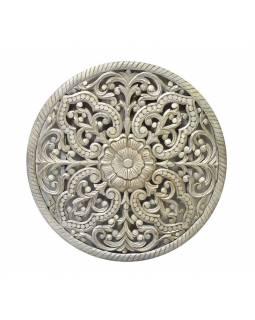 Mandala vyřezaná z mangovégho dřeva, šedá patina, 107x7x107cm