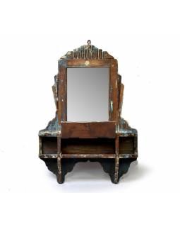 Staré zrcadlo s poličkou z teakového dřeva, 51x13x84cm