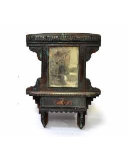 Staré zrcadlo s poličkou z teakového dřeva, 52x15x67cm
