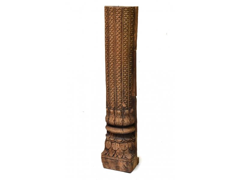 Antik svícen z teakového dřeva, 20x20x80cm