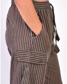 Barevné pruhované unisex kalhoty s kapsami, elastický pas