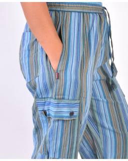 Světlé pruhované tříčtvrteční unisex kalhoty s kapsami, elastický pas