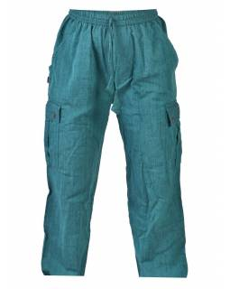 Smaragdové unisex kalhoty s kapsami, elastický pas
