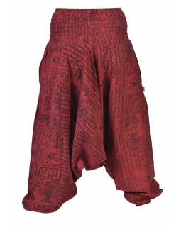 Vínové turecké kalhoty s kapsami a  potiskem mantry