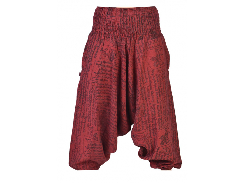 Vínové turecké kalhoty s potiskem mantra