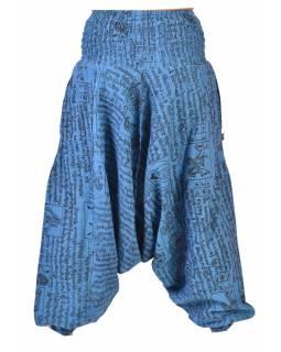 Modré turecké kalhoty s kapsami a potiskem mantry