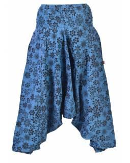 Modré turecké kalhoty s potiskem květin