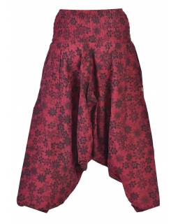 Vínové turecké kalhoty s potiskem květin