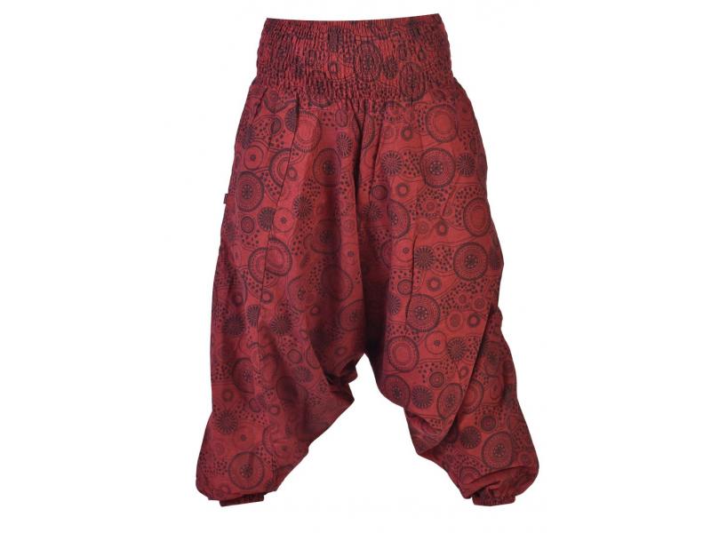 Vínové turecké kalhoty s potiskem mandal