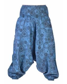Modré turecké kalhoty s potiskem mandal