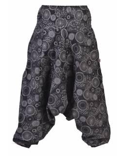 Černé turecké kalhoty s potiskem mandal