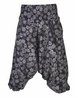 Černé turecké kalhoty s potiskem květin