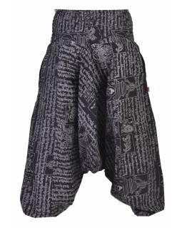Černé turecké kalhoty s potiskem mantra