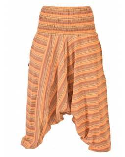 Oranžové pruhované turecké kalhoty, žabičkování v pase