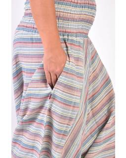 Světlé pruhované turecké kalhoty, žabičkování v pase