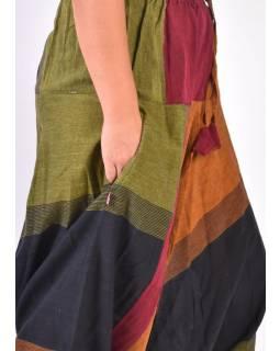 Černo vínovo oranžovo zelené turecké kalhoty, guma v pase, kapsy