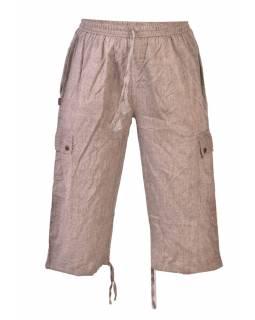 Hnědé tříčtvrteční unisex kalhoty s kapsami, elastický pas