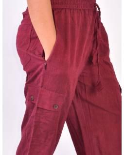Vínové tříčtvrteční unisex kalhoty s kapsami, elastický pas