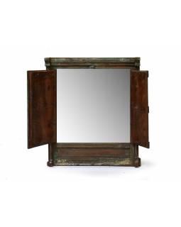 Okno se zrcadlem z teakového dřeva s okenicí, antik, 51x13x68cm